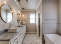 baroque inspired white marble bathroom   Townsville Bathroom Renovations