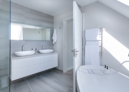 Luxurious and white bathroom in contemporary style   Townsville Bathroom Renovations