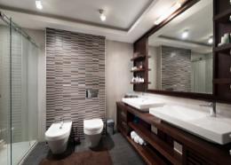 dark brown contemporary bathroom design   Townsville Bathroom Renovations